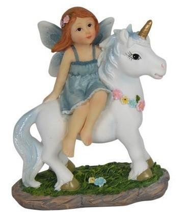 Blue Fairy on Unicorn - 10cm