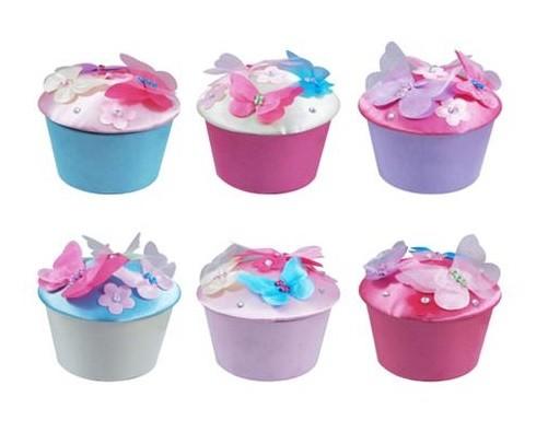 Pink Poppy Blossom Cupcake Trinkets