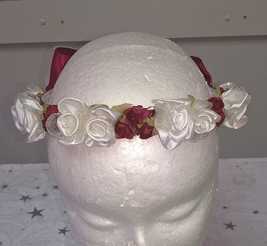 Flower Garland - Burgundy & Ivory