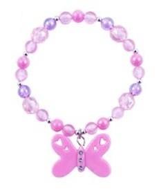 Butterfly Frosted Bead Bracelet - Light Pink