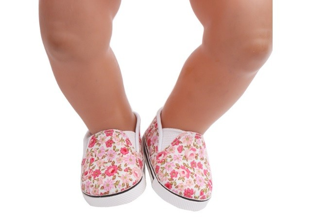 """18"""" Doll Shoes - Floral Slip On Sneakers *"""