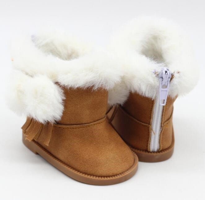 """18"""" Doll Shoes - Fluffy Boots - Brown"""