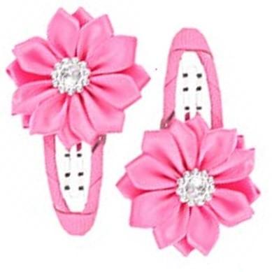 Gem Flower Hair Clips (2pc) - Pink