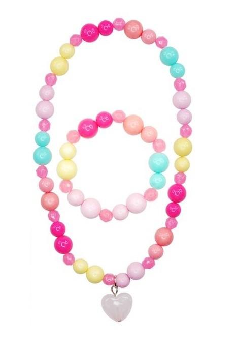 Pink Poppy Candy Jelly Heart Jewellery Set - Light Pink