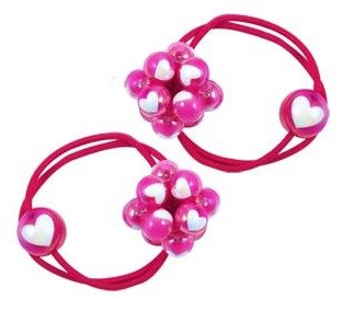 Pink Poppy Bobble Hair Ties - Hot Pink
