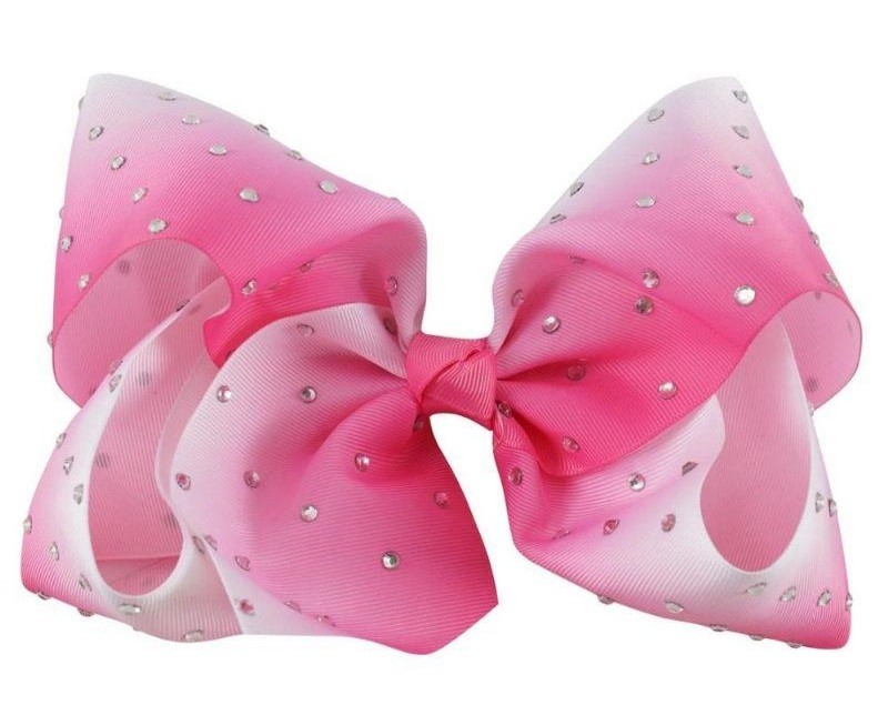 Large Rhinestone Bow - Ombre - Pink