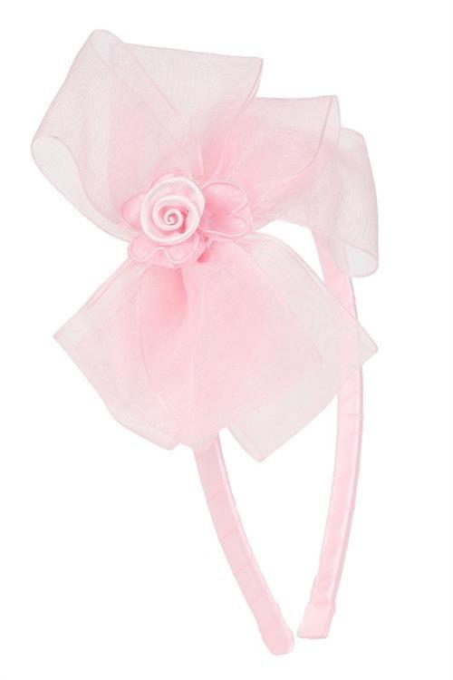 Organza Bow Headband - Baby Pink