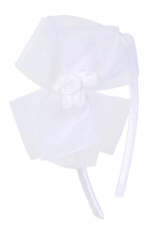 Organza Bow Headband - White