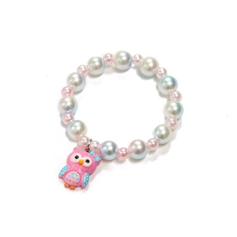 Owl Bead Bracelet - Pink