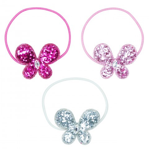 Pink Poppy Sparkle Collection Butterfly Hair Elastics
