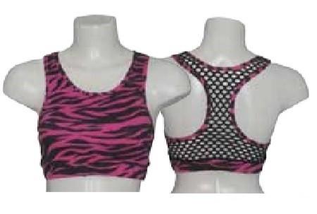 Muscleback Croptop Zebra Print/Mesh - Sapphire