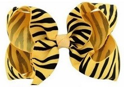 Zebra Print Bow Hair Clip - Yellow