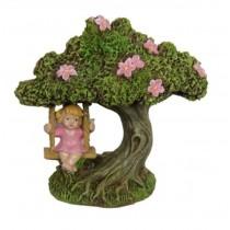 10cm Fairy in Tree Swing - Pink