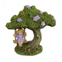 10cm Fairy in Tree Swing - Purple