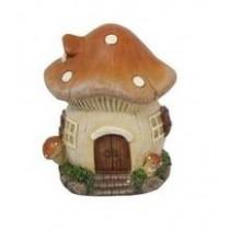 10cm Mushroom Fairy Garden House - Brown