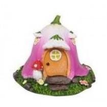 10cm Mushroom Fairy Garden House - Pink