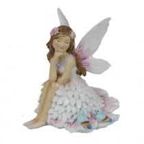 9cm Sitting Fairy W Birds - Pink