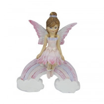 11.5cm Sitting Fairy on Rainbow - Pink