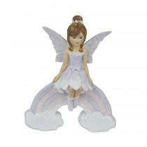 11.5cm Sitting Fairy on Rainbow - Purple