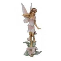19cm Fairy on Flower Base - Pink