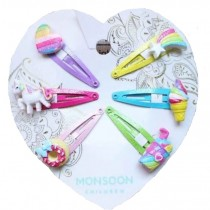 6pc Rainbow Hair Clip Set