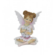 9cm Sitting Fairy with Flowers - Pink