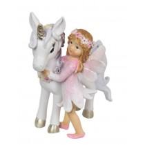 9cm Fairy & Unicorn w Flowers - Pink