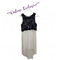 Anita Dress - White/Black - Size 15/16