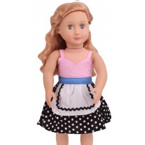 "18"" Apron Style Dress - Pink/Black Polkadot"