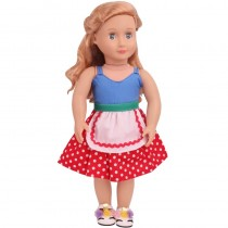 "18"" Apron Style Dress - Blue/Red Polkadot"