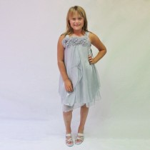 Ava Rose Dress - Silver - Size 3/4