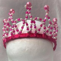 Beaded Princess Tiara - Hot Pink