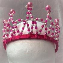 Beaded Princess Tiara - Hot Pink