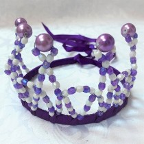 Beaded Princess Tiara - Purple