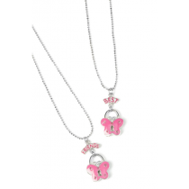 3C4G Fuschia Best Friend Butterfly Necklace Set