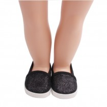 "18"" Doll Shoes - Black Slip On Sneakers"