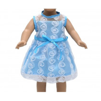 """18"""" Sparkle Dress - Blue and White Floral"""