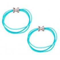 *Pink Poppy Playful Cute Bow Hair Elastics - Blue