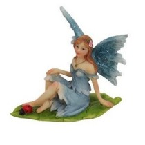 6cm Sitting Fairies on Leaf - Blue