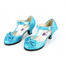 Crystal Blue Girls Heeled Dress Shoes