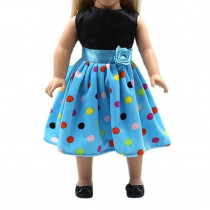 "18"" Sparkle Dress - Blue Polkadot"