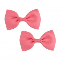 Bow Hair Clips - (2pc) - Coral