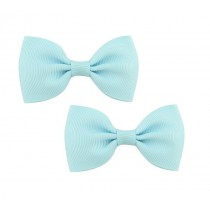 Bow Hair Clips - (2pc) -  Light Blue