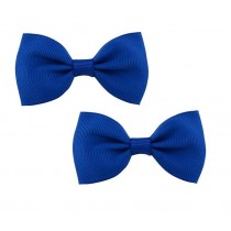 Bow Hair Clips - (2pc) -  Royal Blue