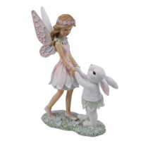 16cm Forest Fairy with Bunny Rabbit - Pink
