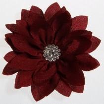 Lottus Chiffon Flower Hairclip - Burgundy