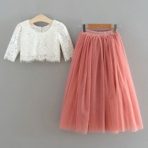 2pc Skirt & Lace Top - Rose