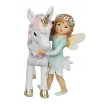 9cm Fairy & Unicorn w Flowers - Blue