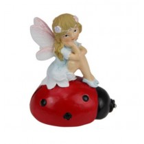 7.5cm Fairy Sitting on Lady Bug - Blue
