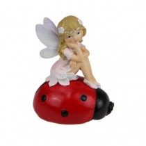 7.5cm Fairy Sitting on Lady Bug - Pink